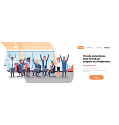 Cheerful business team sitting together people vector