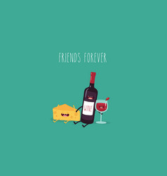 cheese and wine friends vector image