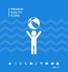 Child holds children toy bouncy ball - icon vector