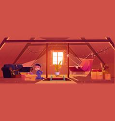 Child on attic little boy found old toys in box vector
