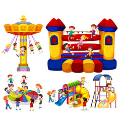 Children playing on different rides vector