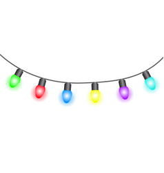 christmas lights on white background vector image
