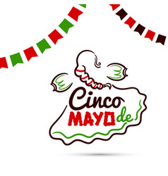 cinco de mayo with woman vector image