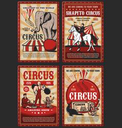 circus big top carnival animals and strongman vector image