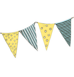colorful party flags isolated on white background vector image