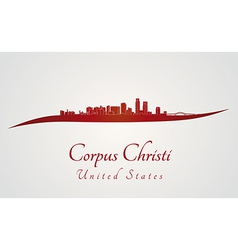 Corpus Christi skyline in red vector image