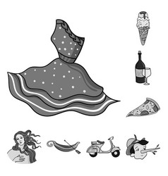 Country italy monochrome icons in set collection vector