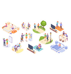 couple daily life isometric home routine leisure vector image