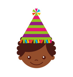 cute african boy with party hat character icon vector image
