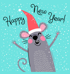 cute gray rat in santas hat wishes happy new year vector image