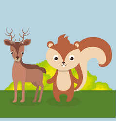 Cute reindeer and chipmunk in the field landscape vector