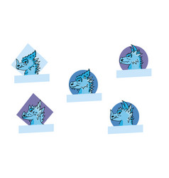 Dragon logo set vector