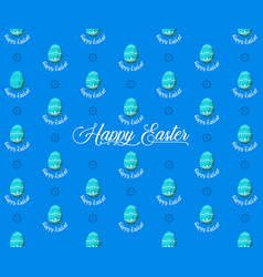 easter eggs seamless pattern on blue background vector image