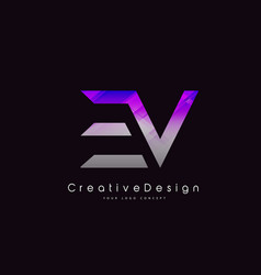 Ev letter logo design purple texture creative vector