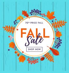 fall sale poster banner leaf pattern background vector image