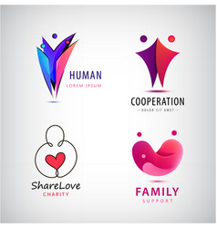 family charity set logos people group vector image