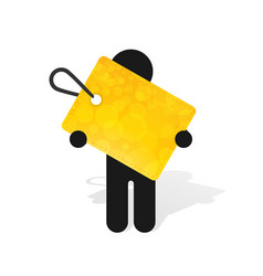 figure man holds yellow label vector image