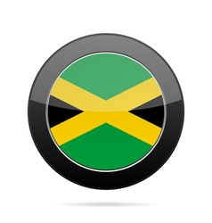 Flag of Jamaica Shiny black round button vector