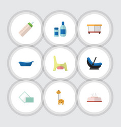 Flat icon child set of playground napkin pram vector