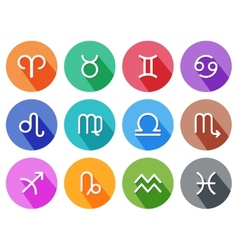 Flat trendy zodiac symbols with shadows vector