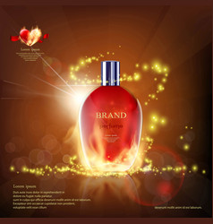 Glass container with a perfume on fire vector