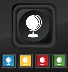 Globe icon symbol Set of five colorful stylish vector