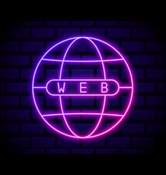 globe neon light icon internet cafe glowing sign vector image