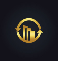 Gold business finance building construction arrow vector