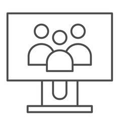 group of people on monitor screen thin line icon vector image