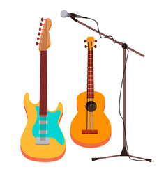 guitar electric classic microphone with vector image
