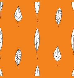hand drawn leaves seamless pattern autumn white vector image