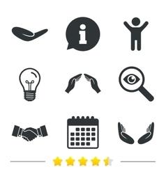 Hand icons Handshake and insurance symbols vector