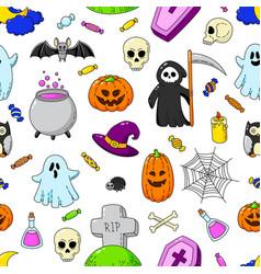 happy halloween seamless background wallpaper vector image