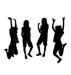 happy jumping girl silhouettes vector image