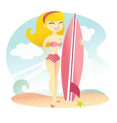 Happy surfer girl vector