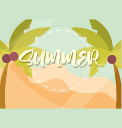 hello summer banner palm trees coconut season vector image