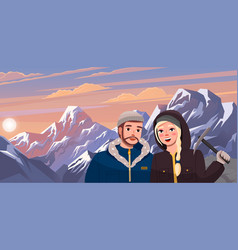 hiking sport climbing couple man vector image