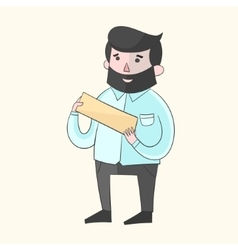 Hipster man beard with plate for text color vector