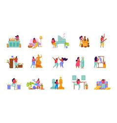 Hobbies flat icon set vector
