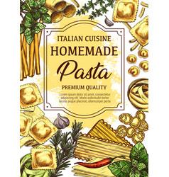 Homemade italian cuisine pasta sketch poster vector