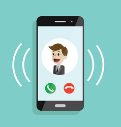 incoming call smartphone with call screen with vector image