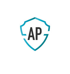 Initials letter ap creative shield design logo vector