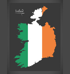 Ireland map with irish national flag vector
