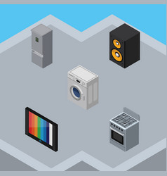 Isometric technology set of music box television vector