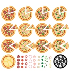 Italian pizza icons vector