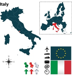 Italy and European Union map vector