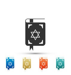 jewish torah book icon on white background vector image