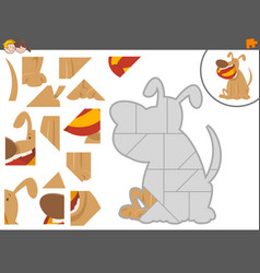 Jigsaw puzzle game with dog vector