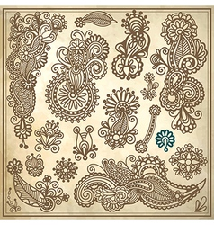 Line art ornate flower design collection vector