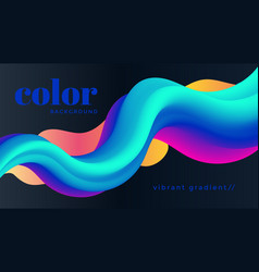 Liquid 3d color wave background modern poster vector